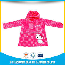 fashion design waterproof children's thick pvc rainwear with cap