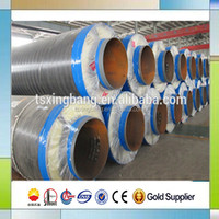 steam heat pre insulated glass wool and calcium silicate insulation coated pipe for hot steam supply