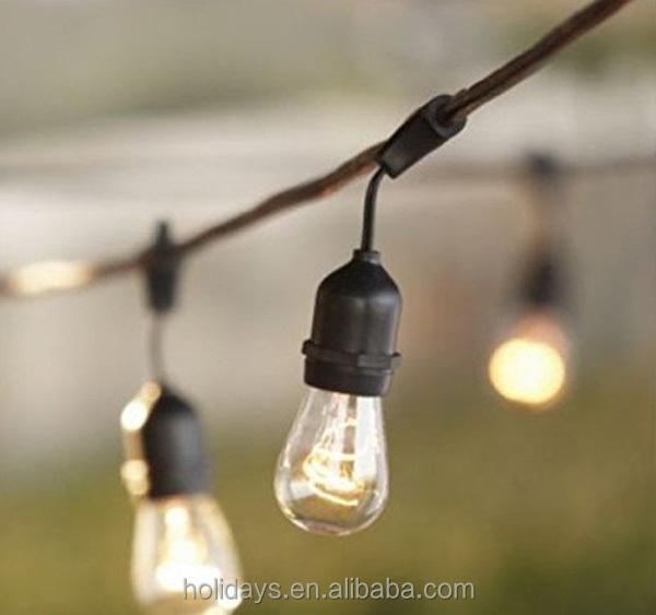 Incandescent S14 Globe Bulbs 48 Feet Black Outdoor String Light - Buy Led Globe String Lights ...