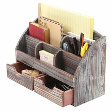 Wholesales wood handmade rustic distressed wooden desk organizer box