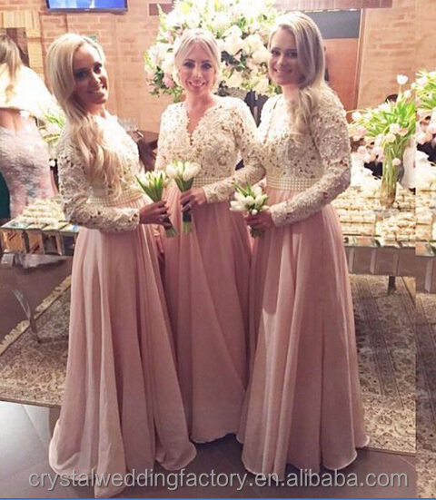 2016 Sexy V-neck Pearls Long Sleeves Lace Pink Muslim Bridesmaid Dresses for Wedding CWFE2323