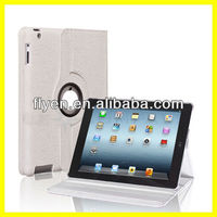 Engraving Fancy Pattern For iPad 4 2 3 White PU Leather Case Rotating 360 Degree Stand With Magnetic Wholesale Good Price