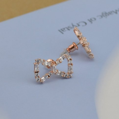 Wholesale cheap alloy rose gold diamond knot earrings for women