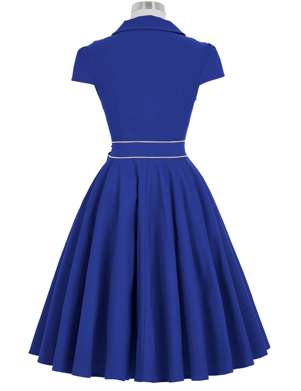 Belle Poque Retro Vintage Cap Sleeve V-Neck High Stretchy Blue Short 50s 60s Vintage Dress BP000167-4