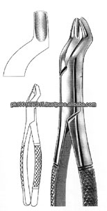 TOOTH EXTRACTING FORCEPS AMERICAN PATTERN FOR UPPER MOLARS, LEFT # 53 L