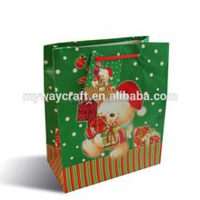 glossy lamination green and red christmas gift paper bag