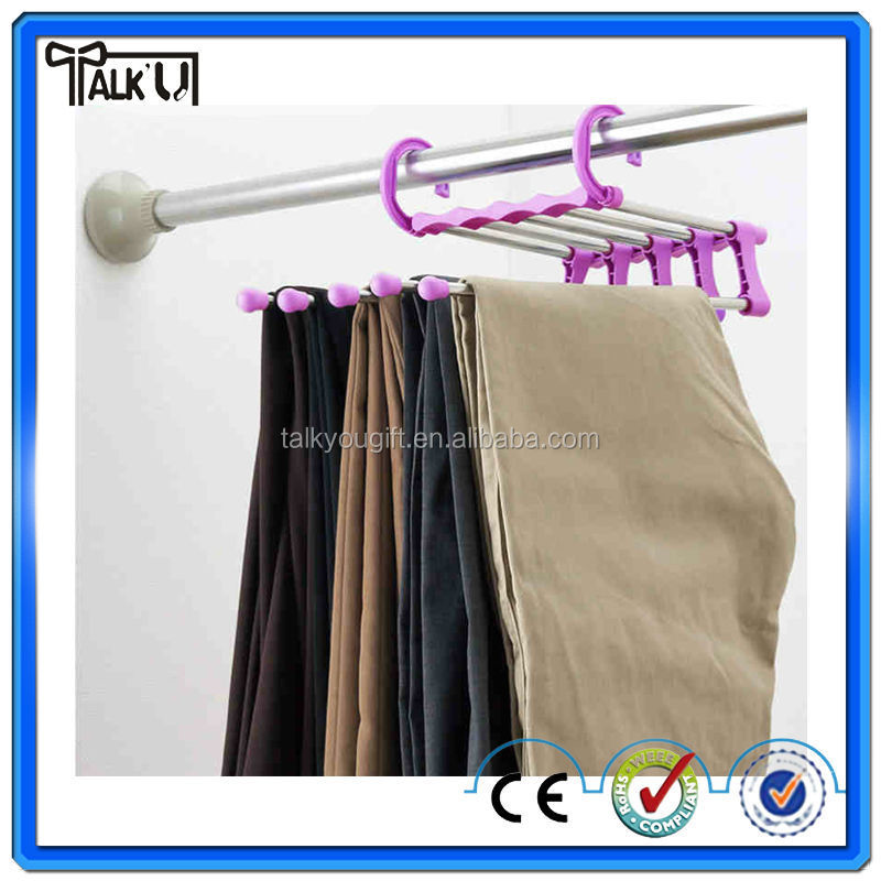 Top Quality stainless steel metal anti-slip space saving wardrobe pant rack trousers rack jeans rack
