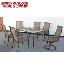 Hot Sale Patio Dining Set 6 Seater with Tiles Table Top and Two Swivel Rockers