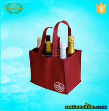 promotional non woven 6 bottles wine carrier bag
