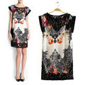 Women's Spliced Hollow Out Lace Floral Print Short Sleeve Chiffon Dress plus size 19409