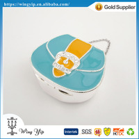 Custom made good quality Free sample Wedding return gift Bag Shape Silver Plated Jewelry Box