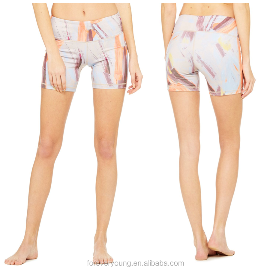 Custom design Dry fit 73% polyester 27% spandex performance women yoga shorts