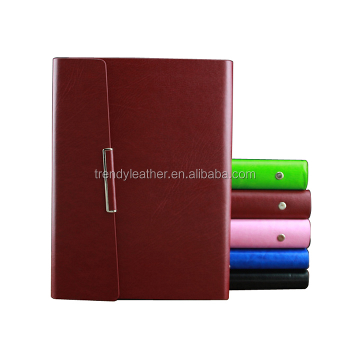 High quality pu leather agenda notebook with pen