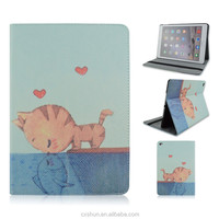Cute Cat Kissing Fish Design PU Leather Flip Stand Tablet Covers Case For iPad Air 2 For iPad 6 From Shenzhen Factory