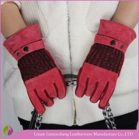 Wholesale custom shoulder length leather gloves warm glove
