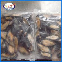 Tasty frozen mussels meat with half shell with 8-10cm