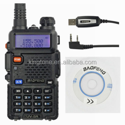 Cheap BaoFeng UV-5R VHF/UHF 136-174/400-480 MHz Dual-Band Handheld Two Way Radio Black + Baofeng USB Programming Cable