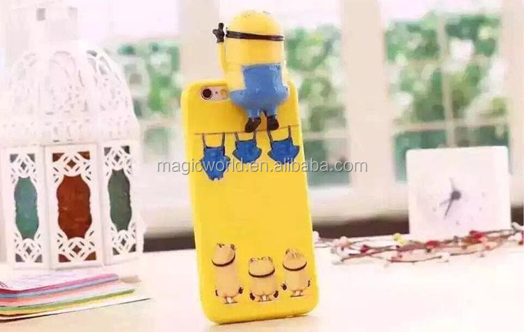 Cartoon Movies Star Cute 3D Minion Rubber Phone Cases For iPhone 6