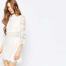 High Neck Embroidered Lace Mini Shift Dress Lace Dress Designs In White