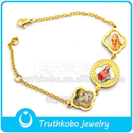 Christ Epoxy Medal Saint Bracele Stainless Steel Gold Bracelet Wholesale St. Benedict Holy Medal Bangle Religious Bracelet