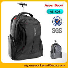 water resistant black laptop trolley bag high quality backpack with wheels