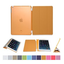 Cheap price 3 folded styles Slim Smart Case Stand Flip Leather Ultra Thin Smart Cover for iPad 5 / 6 Cases (Orange)