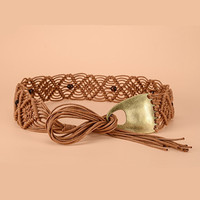 Hand Woven Leather Belt With Wooden