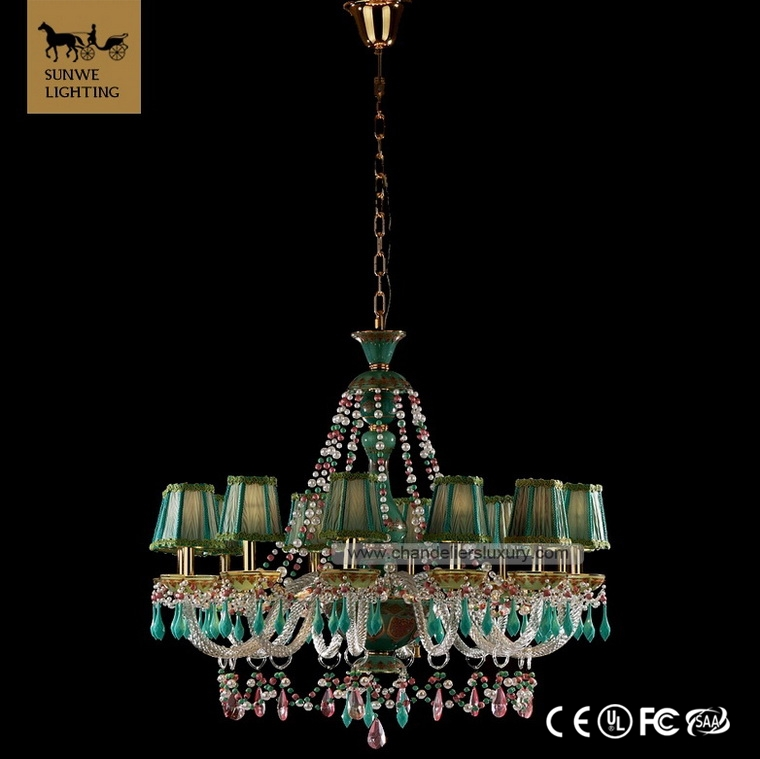 New design Lolita 12 Lights multi color Large Hotel Lampshade Bronze chandelier crystal stones