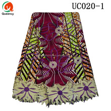 Hot Fashion Cotton African Nigerian Embroidered Ankara Style Wax Lace Prints Fabric