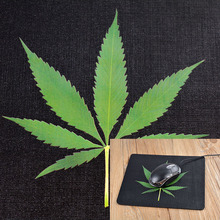 Rubber black slim gaming mouse pad green maple leaves mouse mat for pc laptop cheap price wholesale