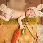 Baby 's Clothing Set Handmade Milk Yarn Crochet Rabbit Design Hat and Pant