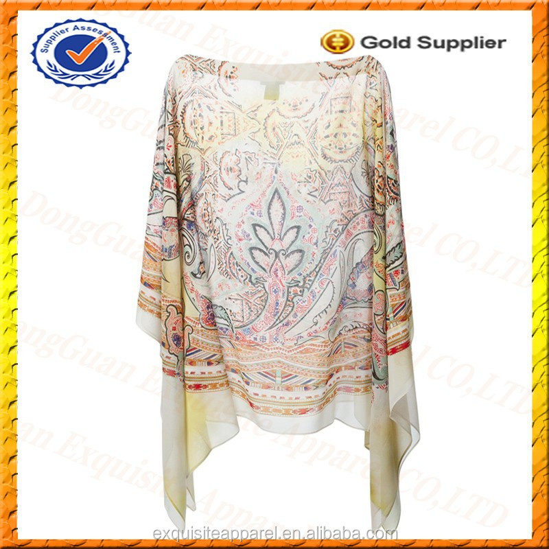 Custom Chiffon Floral Print Kaftan Top for Women/Women Clothes Wholesale Alibaba China