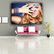 Customized woman hand on face fabric wall painting designs for living room