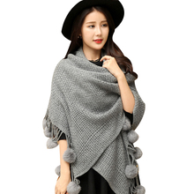 Warm winter solid color knitted shawls woolen pashmina shawl