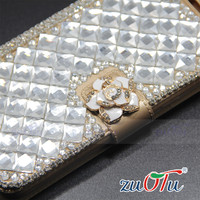 2016 New style hand-made diamond crystal with PU leather mobile phone cover for samsung phone case