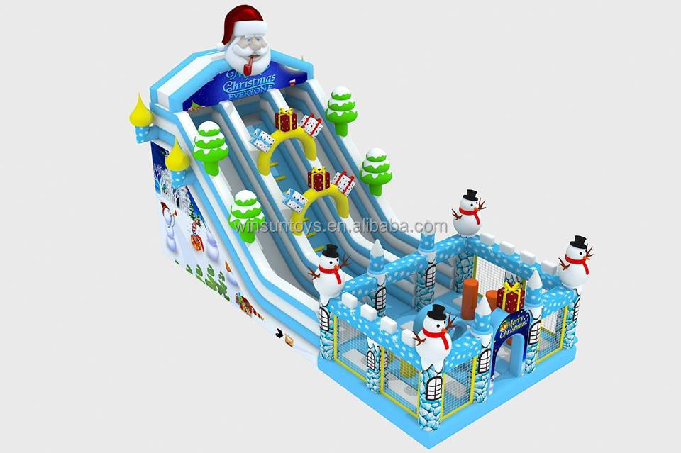 New design giant christmas inflatable slide,Santa Claus inflatable slide for sale