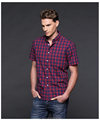 OEM custom logo checked slimming cotton shirt summer shirt for man