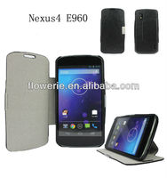 FL182 hot selling Business stand pouch leather case for google nexus 4 E960