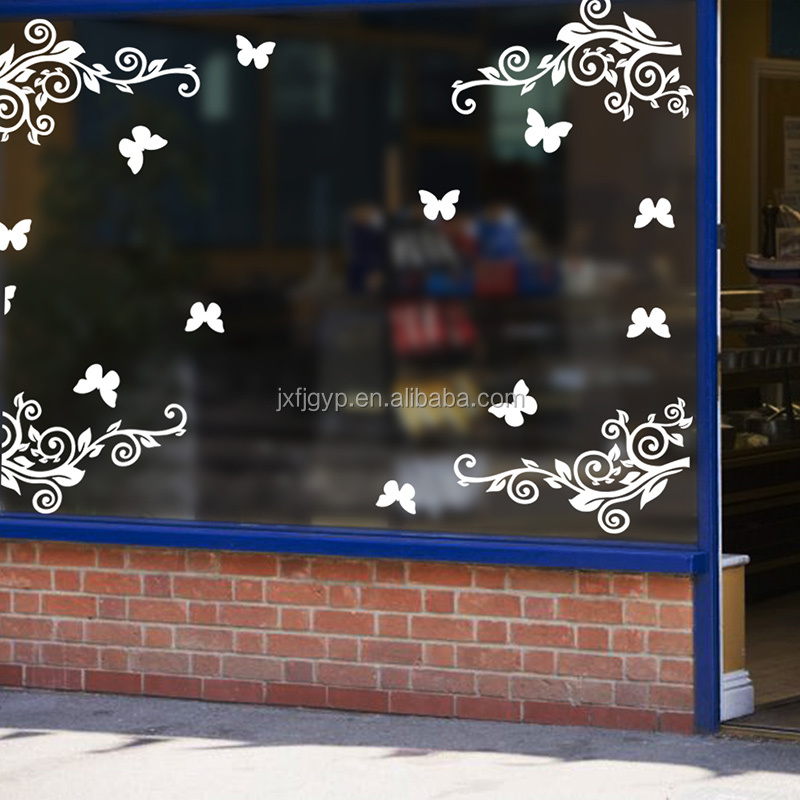 High Quality Inexpensive vine and butterfly pattern easy peel off window decals custom vinyl