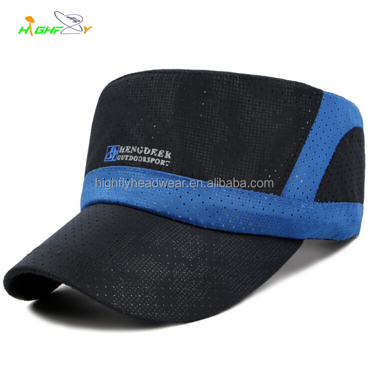 Top Quality Breathable Fabric Hunting Flat Top Army Military Officer Caps Mesh Hats
