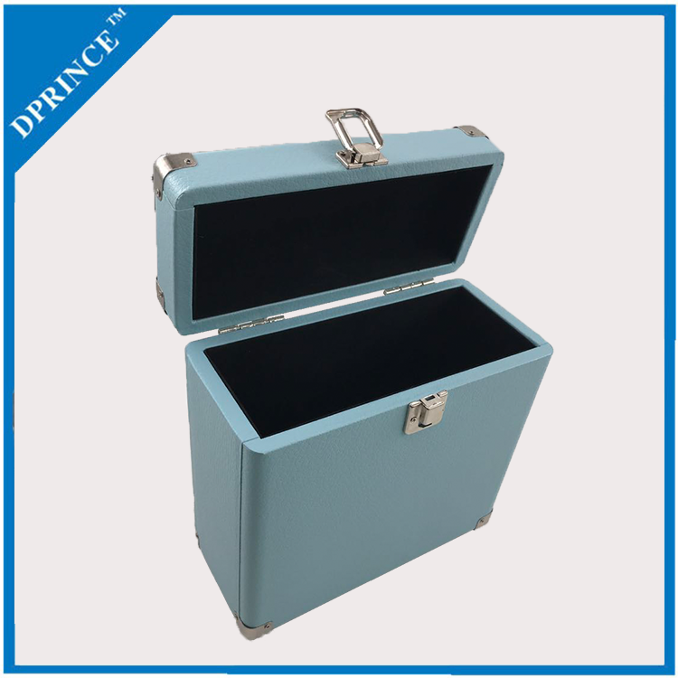 Customizable Classic 7 inch blue suitcase gramophone vinyl record box