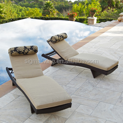 Hot sale patio furniture adjustable white sun lounger cane poolside bed