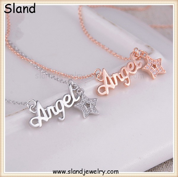 alibaba com fashion jewelry silver and rose gold color statement 925 sterling silver angel necklace with crystal star pendant