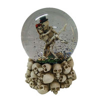2015 New design halloween snow globe skeleton couple skull base