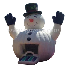 Outdoor giant Christmas PVC inflatable snowman bouncers inflatable white bouncer used commercial with discount S8014