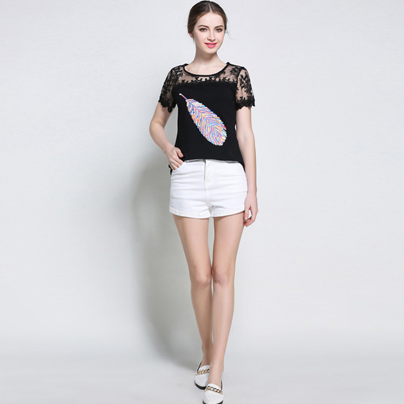 Blusas Fashion Women Hollow Lace Stitching Short Sleeve T Shirt Female Casual O neck Summer Tops T-shirt