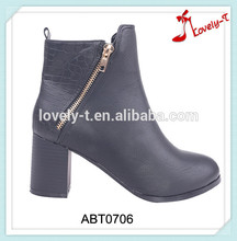 Diagonal zipper ladies fashion cowboy boots india shoes half wellington boots