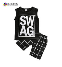 Cool summer baby boys clothes kids suit new design boutique printing kids clothing
