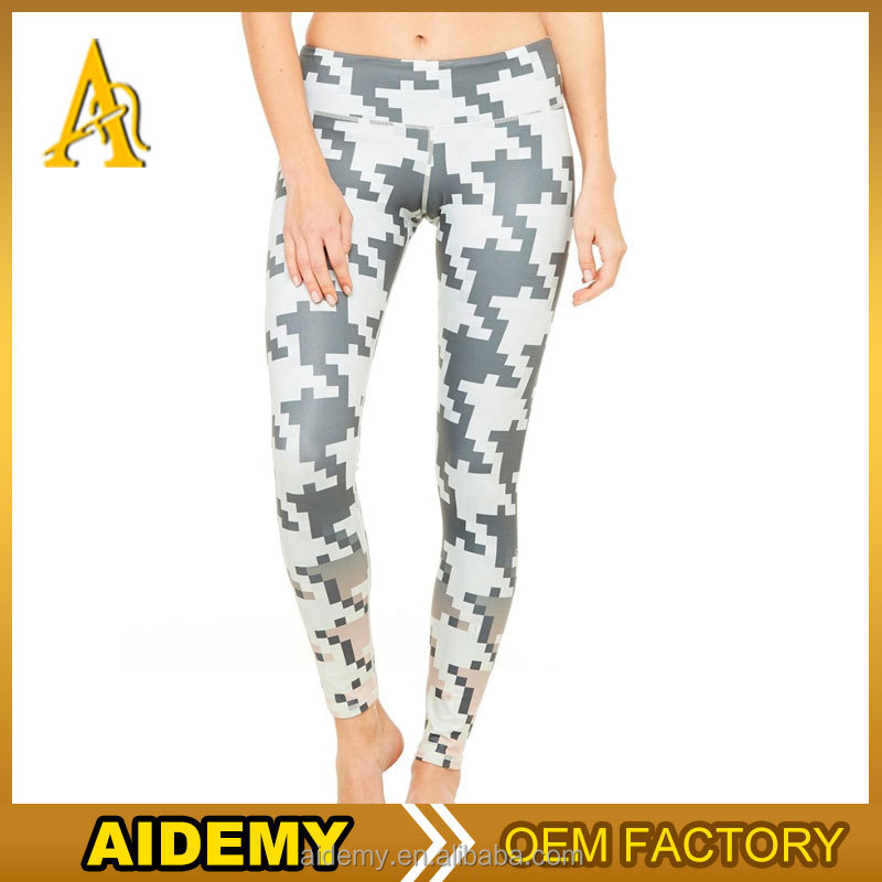 sweatshirt women's gym tights leggings fitness printed geometry tights
