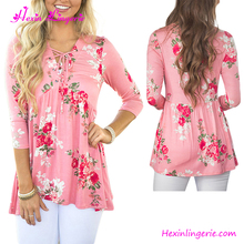 Factory price pink floral fashion clothing women ladies blouse neck models